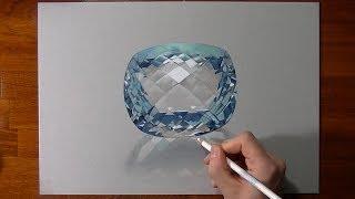 Disegno in timelapse: acquamarina - pietra preziosa