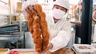 50Cm 대왕 패스츄리 꽈배기, 오리지널 계란빵, 달인 꽈배기, Giant pastry  twisted bread stick, egg bread, Korean street food