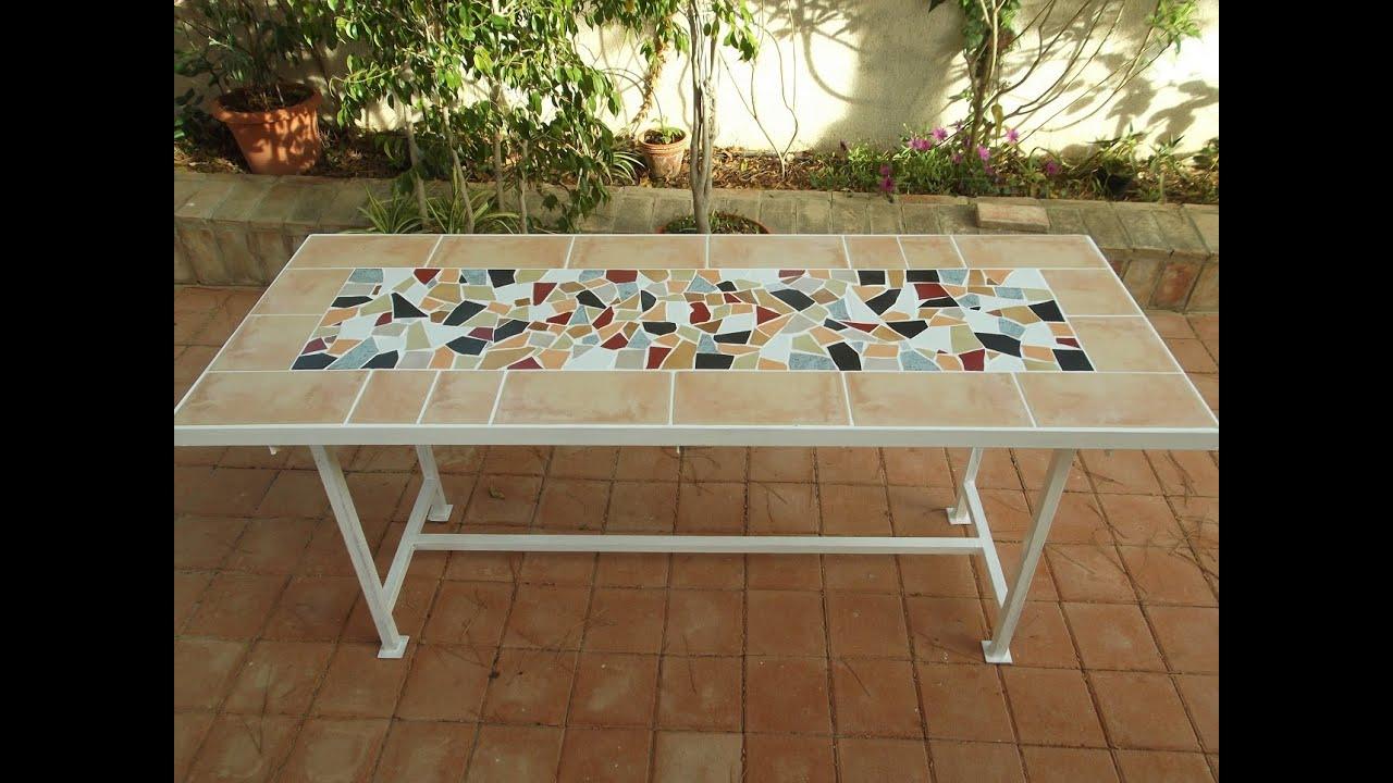 Mesa jard n con bardos y baldosas rotas youtube for Mesas de terraza y jardin baratas