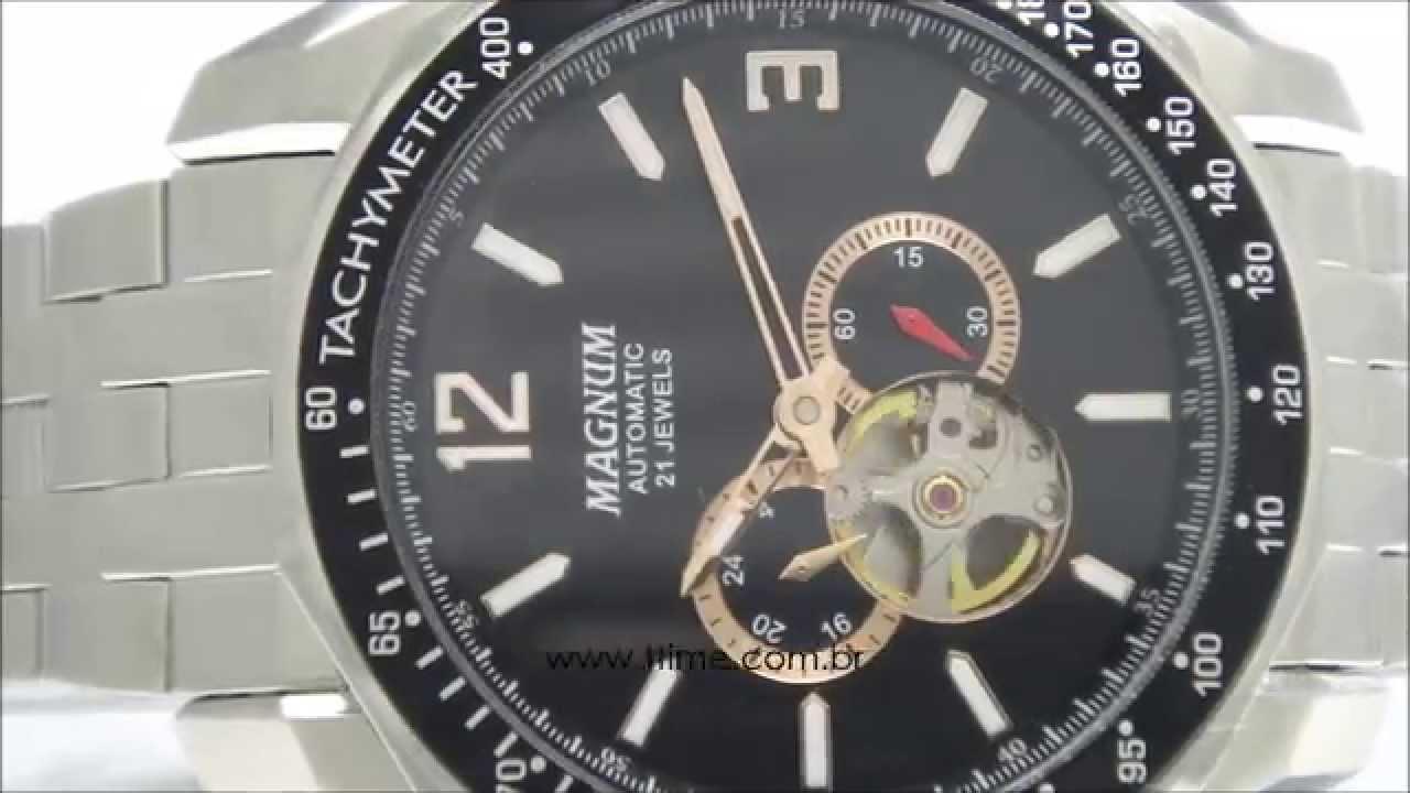 517cd1a1842 Relógio Magnum Automatic 21 Jewels MA33951P - YouTube
