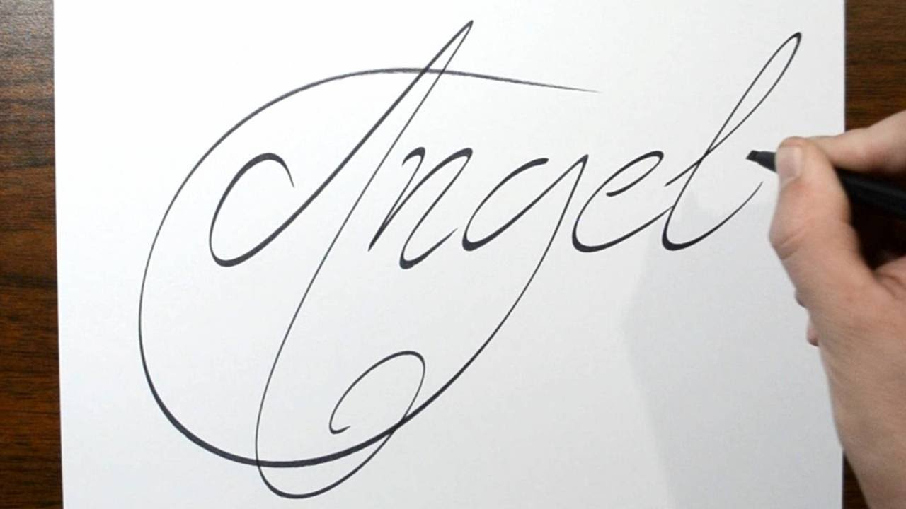 Writing Angel In Thin Cursive Lettering