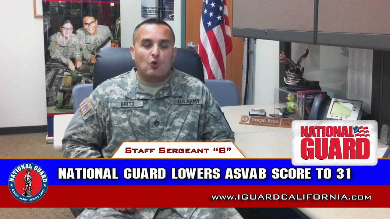 CA National Guard Reduces minimum ASVAB score to enlist!!!!