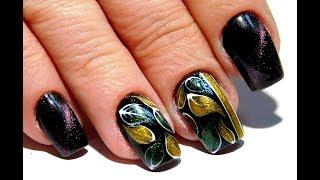 Красивый и простой дизайн ногтей. ТОП удивителные дизайны ногтей Кошачий глаз листики маникюр
