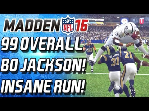 99 OVERALL BO JACKSON! HURDLED TWO PLAYERS! INSANE RUN! -  Madden 16 Ultimate Team -