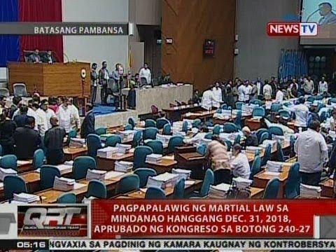 QRT: Pagpapalawig ng Martial Law sa Mindanao hanggang Dec. 31, 2018, aprubado ng Kongreso