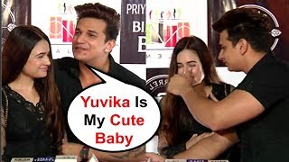Prince Narula Showing Love To Girlfriend Yuvika Chaudhary At Priyank Sharma Birthday Party