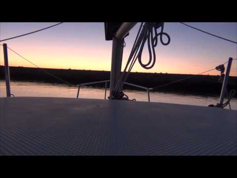 Leaving the dock at sunset