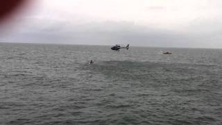 Newport Beach Police Helicopter drops Rescue Diver in Ocean