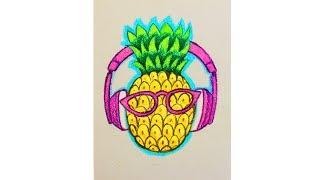 Уроки рисования. Как нарисовать  АНАНАС  мелками How To Draw A Pineapple