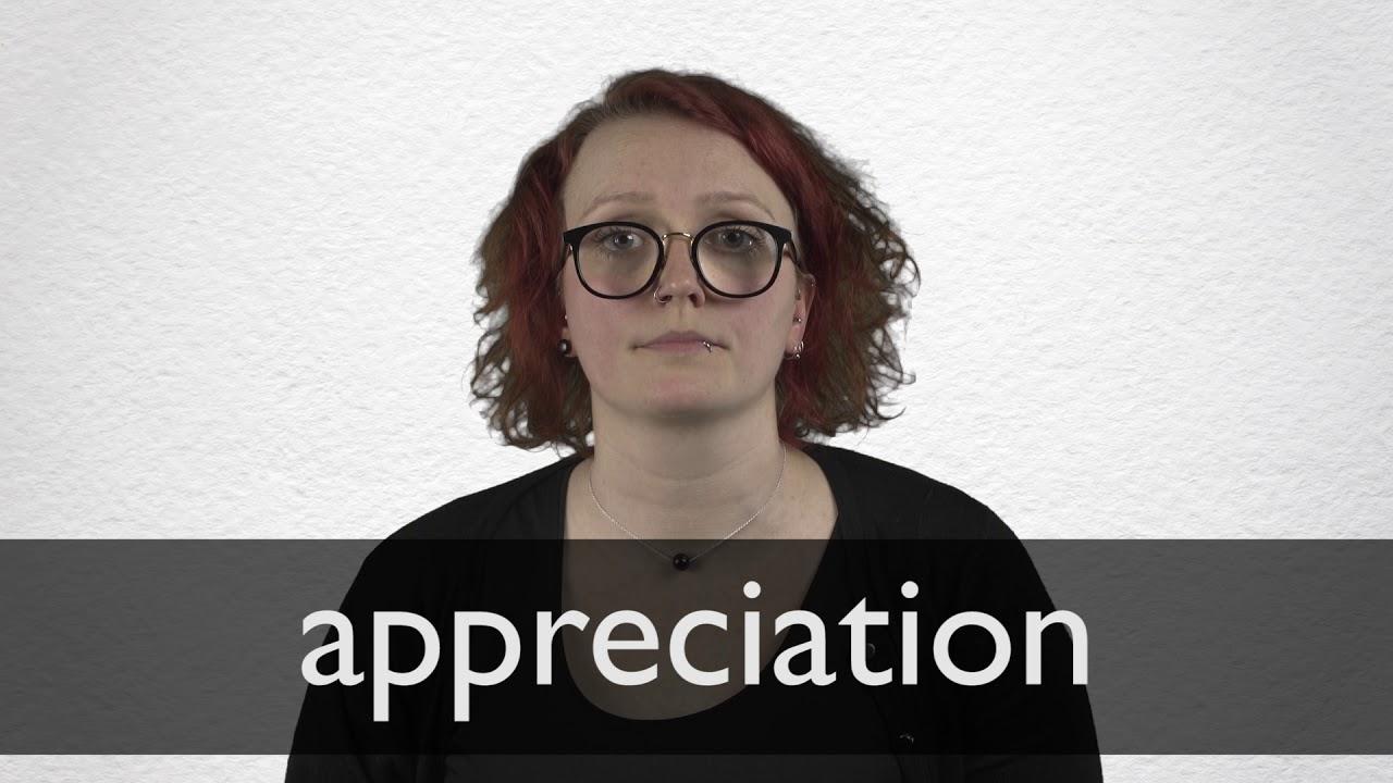 Appreciation Definition und Bedeutung  Collins Wörterbuch