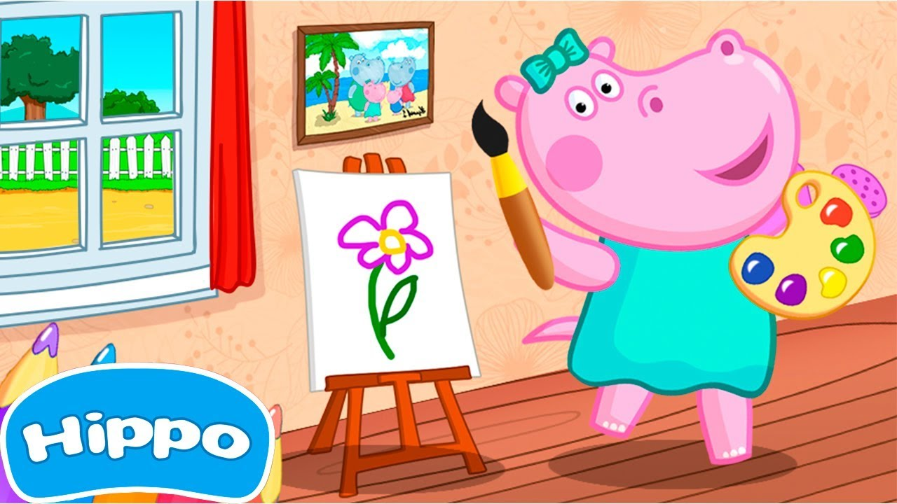 Hippo Kids Games Coloring Book Cartoon Game For