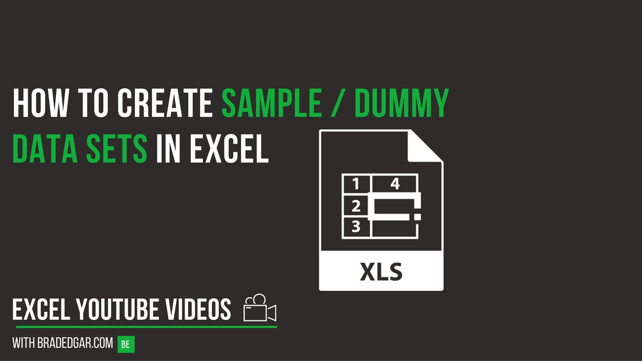 How to Create Sample/Dummy Data Sets in Excel
