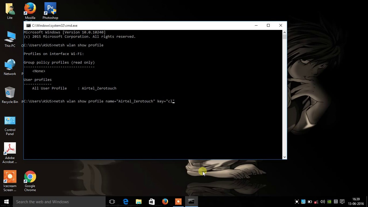 How to find saved wifi password in windows 10