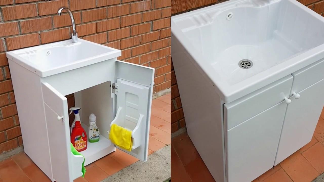 Lavandino Per Esterno In Plastica.Lavatoio Da Esterno In Resina Con Strizzatoio Youtube