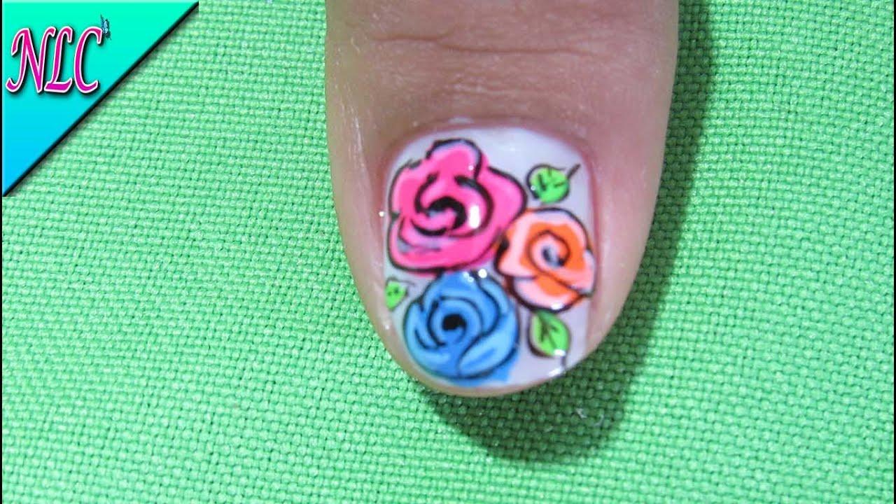 Decoracion De Uñas Rosas - Como Pintar Rosas Fácilmente - Roses Nail ...