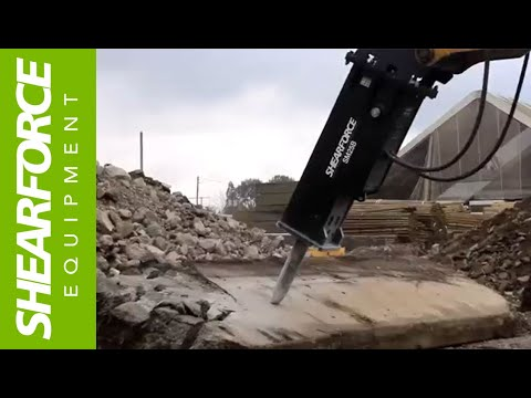 ShearForce SM25 Hydraulic Hammer At Work Breaking Concrete Slabs