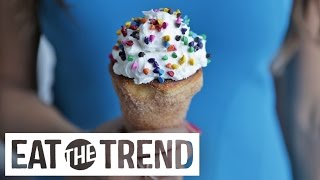 How to Make Churro Doughnut Ice Cream Cones | Eat the Trend