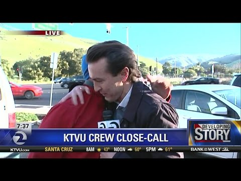 KTVU reporter emotional live shot after nearly hit by car