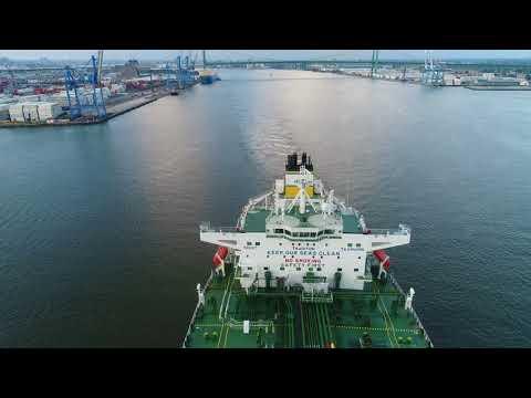 Aerial Drove Video of Oil Tanker Marathon TS Leaving Port of Philadelphia