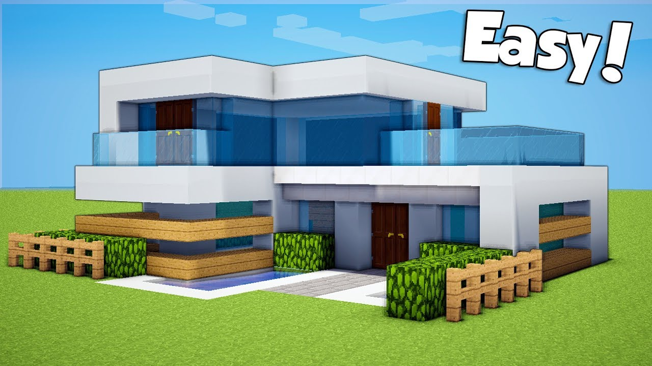 Minecraft How To Build A Small Easy Modern House Tutorial Youtube