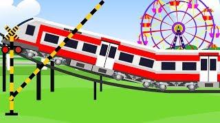踏切 アニメーション ❤ ふみきり 踏切とジェットコースター ★ 歌のアニメーション こども向けの歌 赤ちゃん 泣き止む おもちゃ railway crossing animation thumbnail