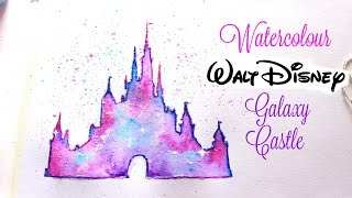 Simple Walt Disney Castle Galaxy Watercolor Tutorial
