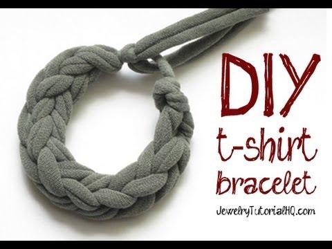 Diy Jersey Knit T Shirt Bracelet Tutorial Finger Knitting Youtube