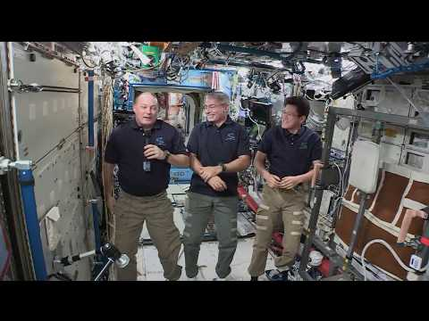 Space Station Crew Members Discuss Life in Space with the Media large
