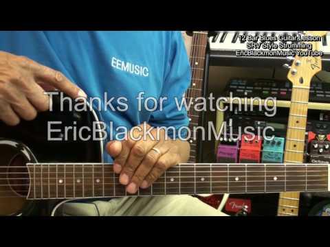 12 Bar Blues SRV Style Strum Guitar Lesson Tutorial How To Play EricBlackmonGuitar HD