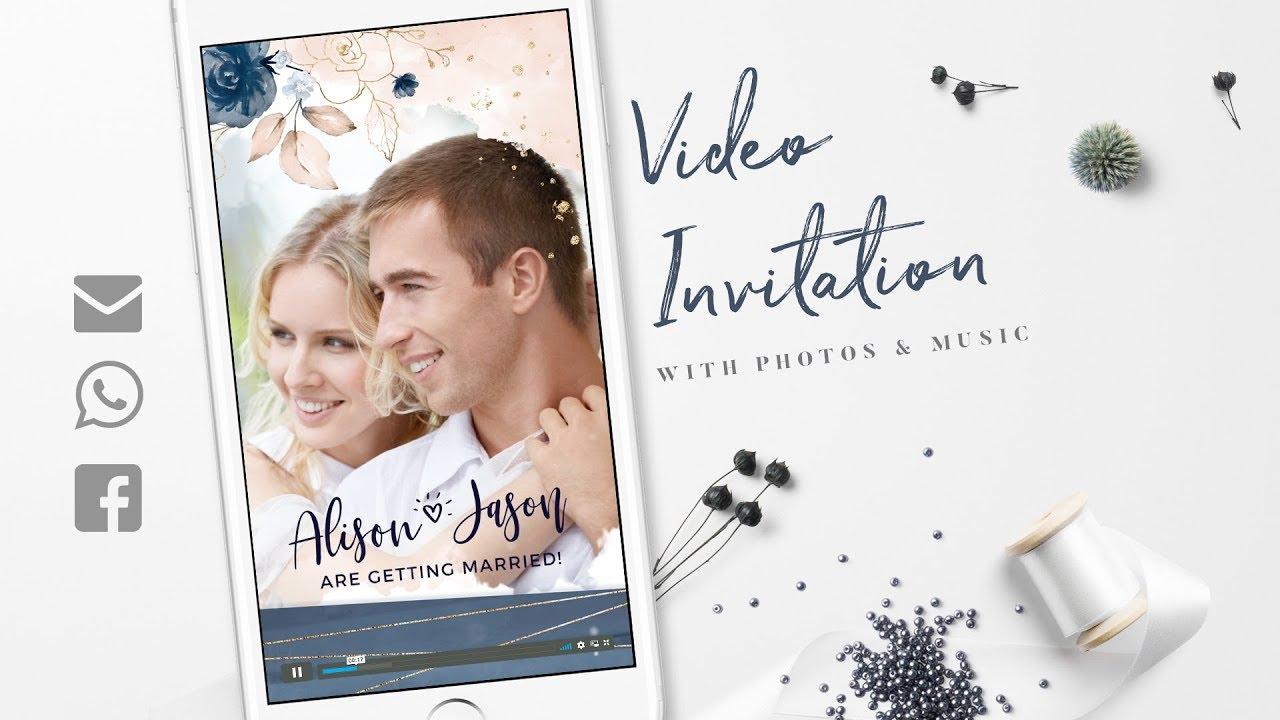 Electronic Wedding Invitation: WhatsApp Wedding Invitation Video Blush Navy Gold