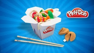 Play Doh Noodles Wok Box & Fortune Cookie. Dolls Food DIY Tutorial for Kids. Pretend Cooking Play