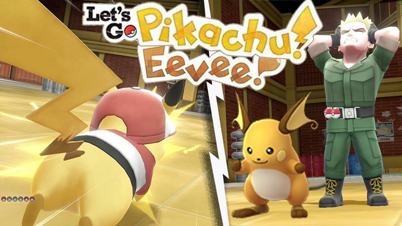 EASILY BEAT Lt  SURGE - VERMILION CITY GYM in Let's Go Pikachu Eevee