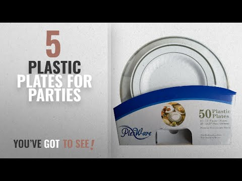 Best Plastic Plates For Parties [2018]: Plexware Plastic Plates, Silver Rim With Ridges, 25-7.5