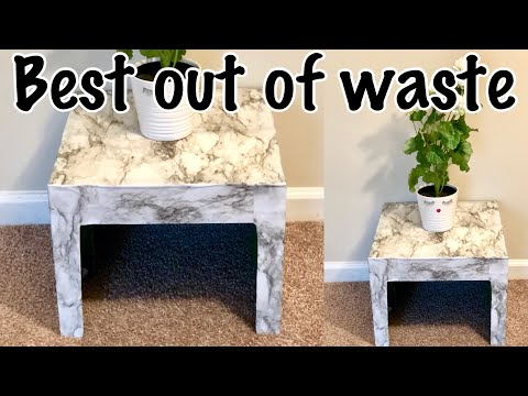 BEST OUT OF WASTE / CARDBOARD CRAFT EASY / DIY SIDE TABLE /  HOME DECOR / CARDBOARD TABLE
