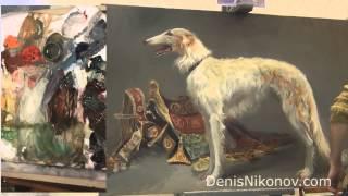 Как рисовать собаку. Русская псовая борзая. Урок живописи маслом.