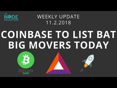 BAT Rockets 30% on Coinbase News - BCH & XLM also strong today