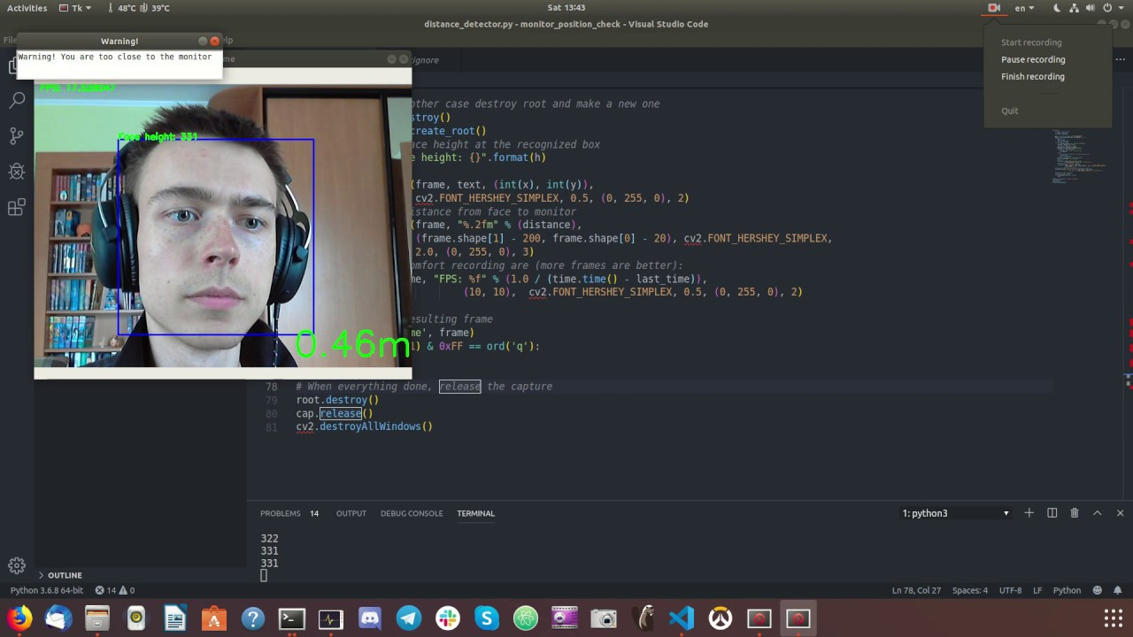 Position monitor detector in Ubuntu(build with opencv on