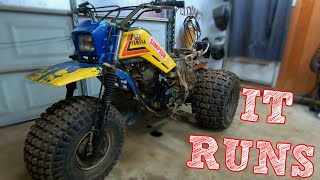 trashed-yamaha-three-wheeler-first-start-and-run