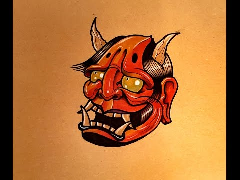 How To Draw A Hannya Mask