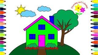 Vẽ và Tô Màu Ngôi Nhà   How to Draw House for Kids
