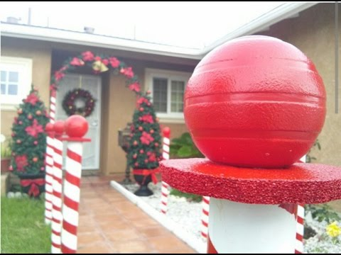 diy christmas decoration candy cane lane youtube - Candy Cane Outdoor Christmas Decorations
