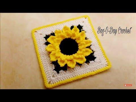 """CROCHET How To #Crochet #Sunflower Granny Square 10""""   TUTORIAL #326 LEARN CROCHET"""