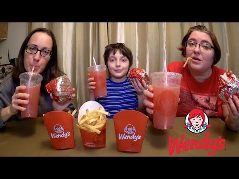 Wendy's Burgers, Fries And Strawberry Lemonade | Gay Family Mukbang (먹방) - Eating Show