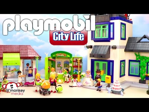 Playmobil City life!  Formal Wedding, Birthday Party, Dentist, City Hall, Flower Shop and More!
