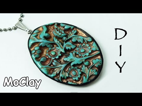DIY  pendant with carved designs - Polymer clay jewelry