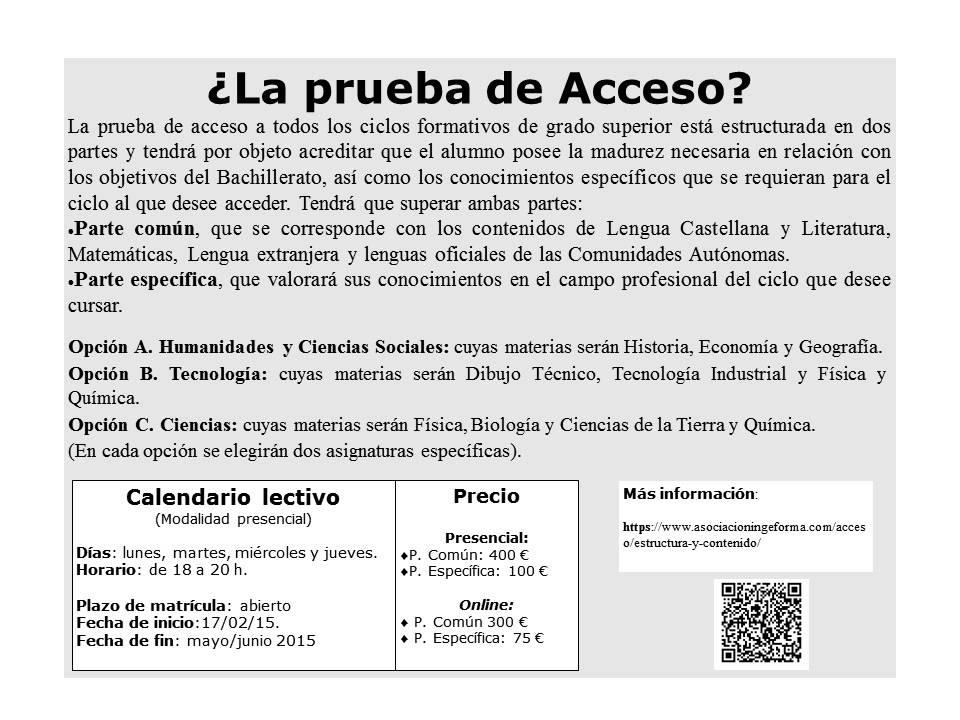 Prueba de acceso a grado superior 2015 youtube Ciclos formativos de grado superior valencia