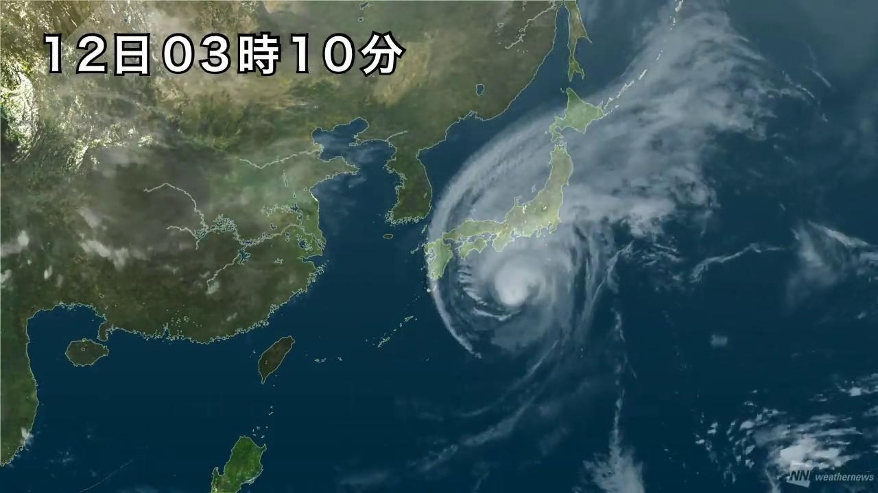 2019年台風19号の軌跡 衛星動画 東日本通過まで