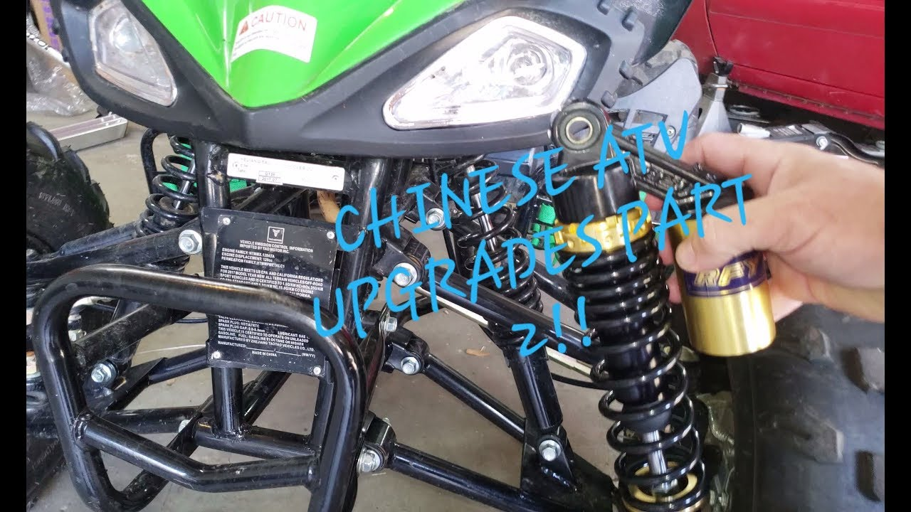 Chinese atv upgrades part 2! new front shocks installed!