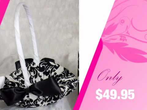 Black And White Damask Flower Girl Basket - Customizable! - AdvantageBridal.com