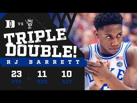 RJ Barrett: 4th Triple-Double in Duke History! (2/16/19)